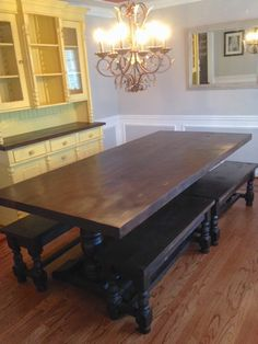 Custom Pine Trestle Table and Matching Benches