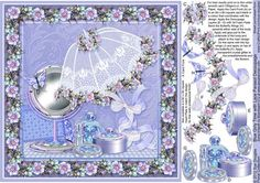 Blue Girly Time with Lace Parasol 8in x 8in Decoupage on Craftsuprint designed by Sue Douglas - This Decoupage sheet, is from my Floral Collection of designs. The predominately Blue design features a Square Frame of Blue Anemones and Girly Cosmetics, Perfume, Lipstick, Round Box, Make-up Mirror with Butterflies and pretty Lace Parasol trimmed with Blue Anmones. The main design will fit an 8in x 8in card blank. This design is just perfect, for any female occasion! Full instructions are ...