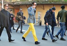 Punchy suit dude!   Tommy Ton Shoots the Street-Style Scene at the Couture Shows