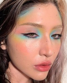 Cool Makeup Looks, Creative Makeup Looks, Unique Makeup, Colorful Eye Makeup, Cute Makeup, Pretty Makeup, Rainbow Eye Makeup, Orange Makeup, Kawaii Makeup