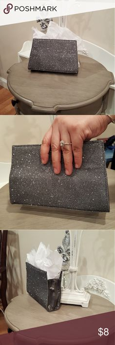 LANCOME SPARKLING SILVER CLUTCH Small simple clutch purse that can be used for an event or Prom. Top magnetic closure. Gently used Lancome Bags Clutches & Wristlets