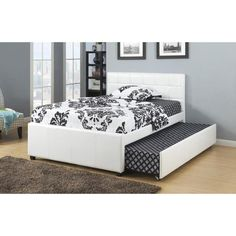 New White Bycast Leather Twin Size Platform Bed with Twin Trundle *Includes Mattress Supports for Upper Twin Bed & Twin Trundle *Boxspring not required *Bottom Twin Size Trundle Bed provides additional sleeping space Queen Trundle Bed, Full Size Trundle Bed, Pop Up Trundle Bed, Trundle Beds, Twin Beds, Twin Twin, Full Platform Bed, Upholstered Platform Bed, Cama Full