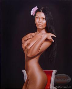Kráska z Tahiti, olej, plátno, 50 x 40 cm