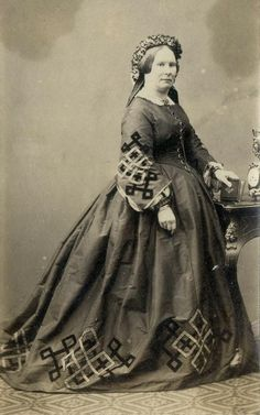 CDV: A woman wearing an embroidered hooped dress c.1860 | eBay