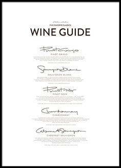 Five Wine Classics, affiche dans le groupe Affiches / Formats / 50x70cm chez Desenio AB (8558)