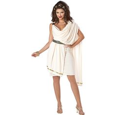 Cheap Greek Costumes ($30) ❤ liked on Polyvore featuring costumes, halloween costumes, multicolor, greek costumes, womens costumes, goddess costume, adult women costumes and adult toga costume