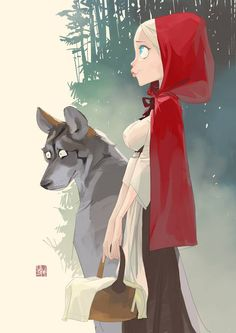 Red Riding Hood and The Wolf by Otto Schmidt *