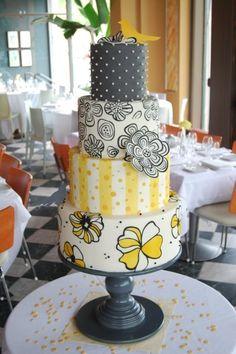 Yellow + Gray Wedding #Cake I http://www.weddingwire.com/wedding-photos/cakes/yellow-wedding-cakes/i/66f41281af7578a1-74757cc3951abc7f/c15fa124df6bc37e