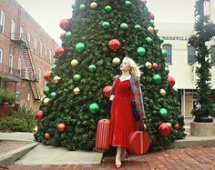 Get this look: http://lb.nu/look/7926032  More looks by Erin Smith: http://lb.nu/erinsmith  Items in this look:  Vessel Vintage 1950's Red Velvet Dress, Alice's Pig Plaid Coat, Manolo Blahnik Red Satin Heels, Handmade Jewelry Set   #retro #romantic #vintage