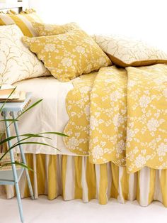 Decorating With Yellow - 20 Stunning Interior Design Pictures - Style Estate - Dream Bedroom, Home Bedroom, Bedroom Decor, Bedroom Linens, Budget Bedroom, Bed Linens, Master Bedroom, Yellow Bedspread, Yellow Bedding