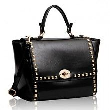 Trendy women's handbag made of high quality PU leather with gold studs. The bag has a handle and a detachable shoulder strap. The bag closes with a flap and twist lock. Inside lined with zip pockets and open compartments.