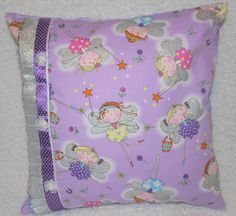 Fairy Cushion Cover Lilac Childrens Room Nursery Playroom New Baby Gift Shower Childs Birthday