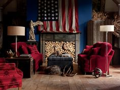 Stanton Sofas in the fabric Bach/Rubiat. Pillows on the sofa in the fabric Dupioni/Sangria, in the fabric Bach/Rubiat, in the Ralph Lauren Fabric New Mountain Red/Red, and in the Sensuede fabric Brugges with decorative trim. Ethel Storage Ottoman in the Sensuede fabric Cinder. Mary