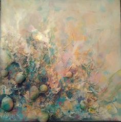 Abstract painting Sea story Stones Home decor Canvas art