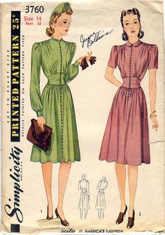 Vintage 1940s Gorgeous 1941 Button Up Dress by WearingHistory, $28.00