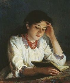 A Girl reading by Tony Robert-Fleury (France, 1837-1912)