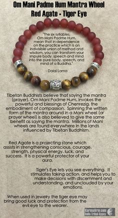 MANTRA: I will create the future I want. - 8mm Matte Red Agate Round Natural Gemstones - 8mm Tiger Eye Round Natural Gemstones - Tibetan Silver Om Mani Padme Hum Prayer Wheel - Tibetan Silver Om Mani
