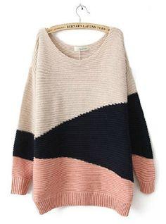 Mixed Colors Geometric Asymmetrical Sweater