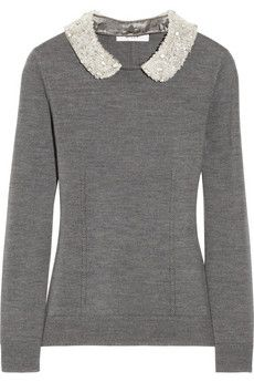 Milly Embellished-collar merino wool sweater | NET-A-PORTER