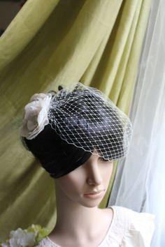 "WEDDING VEIL- small bandeau Bridal Veil  in 9"" Russian veiling. $15.00, via Etsy."