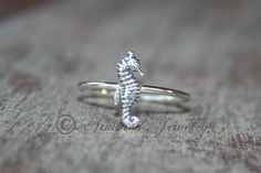 Seahorse Sea Horse Ring- Sterling silver - silver ring - Stacker ring on Etsy