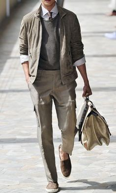 I'm Loving This Casual Style For Men...Most Especially My Husband...Neat Khakis, Boxy Simple Jacket, Sweater, White Shirt With Sleeve Rolled Up...Add Flat, Comfy Shoes...Oh, Yes...Looks Great, Yet Totally Stylish!!