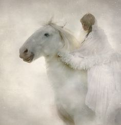 magical Snow White horse and Lady Winter Pretty Horses, Horse Love, Beautiful Horses, Foto Fantasy, Fantasy Life, Especie Animal, Believe In Magic, White Horses, Snow Queen