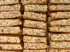 """I grew up in a household where we always ate fabulous homemade rusks. My mom was THAT """"tannie"""" who could bake the best """"mosbolletjies"""" and buttermilk rusks in the whole tow… Kos, Muesli, Baking Tins, Baking Recipes, Easy Recipes, Baking Store, Baking Breads, Sweet Recipes, Buttermilk Rusks"""