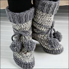 crochet eskimo boots free pattern #CrochetShoes