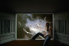 Digital fantasy image of a woman sitting in an open window looking outside, where there is an inviting scene of spiritual awakening. Fantasy Images, Open Window, Romanticism, Unique Image, Spiritual Awakening, Mystic, Scenery, Digital Art, Spirituality