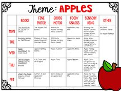 Apple Themed Tot School plans including ideas for books, fine motor, gross motor, sensory bins, snacks and more!