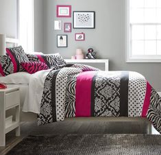 Teen Girl Hot Pink Black White Bedding Comforter Damask Zebra QUEEN Bedspread Set 2 Shams Adorable Throw Pillow Home Style Sleep Mask Polka Dot Fuchsia Paris Comforters Sets for Girls Kids * Visit the image link more details. (This is an affiliate link) Pink Bedroom Design, Pink Bedroom Decor, Pink Bedroom For Girls, Pink Bedrooms, Teen Girl Bedrooms, Bedroom Ideas, Bedroom Stuff, Bedroom Images, Girl Rooms