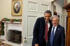President Barack Obama greets Elie Wiesel in the Oval Office, Dec. 5, 2011. (Official White House Photo by Pete Souza)