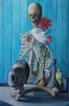 "Saatchi Art Artist James Cowan; Painting, ""Studio Still Life  Skeleton with Dahlia"" #art"