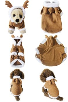 [Visit to Buy] Brown Pet Dog Puppy Cat Fancy Warm Dress Christmas Reindeer Costume Clothes Hoodie Coat #Advertisement
