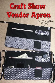 Sewing Projects To Sell How to Make a Craft Show Vendor Apron - pattern lots of pictures show each step. This apron has lots of pockets for all of the necessities you need when you're a vendor at a show - Crafty Staci Sewing Basics, Sewing Hacks, Sewing Tutorials, Sewing Patterns, Sewing Tips, Sewing Ideas, Free Sewing, Makeup Bag Tutorials, Sewing To Sell