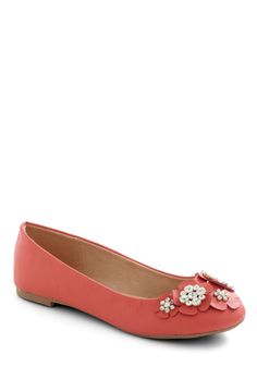 How Does Your Garden Glitz Flat - Flat, Faux Leather, Flower, Rhinestones, Coral