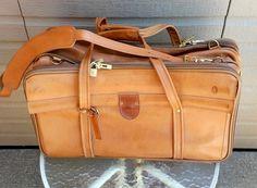 Vintage Hartman Luggage With Shoulder Strap, Tag, Keys Hartmann Leather Suitcase…