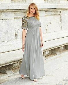 Sequin Maxi dress with scalloped sleeves.