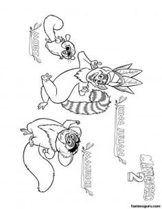 printable madagascar 3 king julian maurice and mort coloring page printable coloring pages for kids