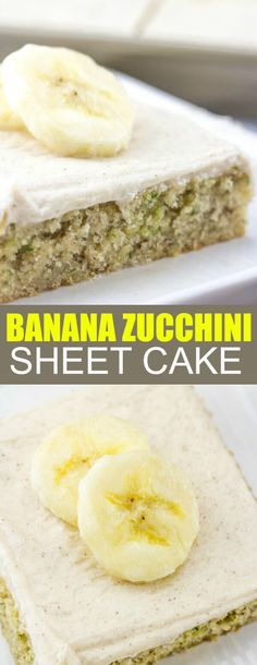 Moist and delicious this Banana Zucchini Sheet Cake combines two great flavors and coats them in a creamy cinnamon cream cheese frosting!