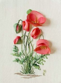 Bordados com fitas. (Embroidered with ribbons)This would make a beautiful greeting card. Scroll down, there are plenty more of these.Ribbon Embroidery Flowers by Hand - Embroidery Patternssilk ribbon embroidery kits for beginnersSo pretty poppies Ribbon Embroidery Tutorial, Silk Ribbon Embroidery, Embroidery Stitches, Embroidery Patterns, Hand Embroidery, Embroidery Supplies, Embroidery Jewelry, Eyebrow Embroidery, Embroidery Blanks