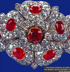 COUNTY OF CORNWALL DIAMOND AND RUBY ROSE BRACELET. The County of Cornwall gave Mary of Teck this piece when she married the Duke of York in 1893, a ruby and diamond bracelet incorporating a detachable centrepiece in the shape of a rose.