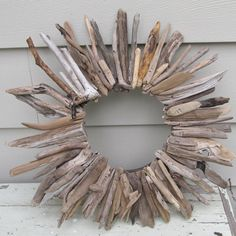 Driftwood sunburst wreath frame great lakes nature by paintallday, $35.00