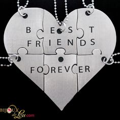 Stainless Steel Best Friends Forever 6-Piece Necklace Set: Made of lasercut stainless steel with a silver color, the heart is 3 inches at the widest point when assembled. It breaks into 6 puzzle piece pendants, each with its own matching 24 inch long silver-plated necklace chain. Limited quantities available. Also sold in a brass version.