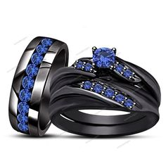 1.60 CT Sapphire Prong Sett. Slant 14k Black Gold FN Bride & Broom Trio Ring Set #WeddingEngagementAnniversaryBrithdayPartyGift