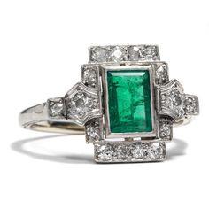 Art Déco um 1925: Platin & Weißgold RING mit Smaragd & Diamanten Emerald Diamond in Antiquitäten & Kunst, Antikschmuck, Schmuck nach Epochen | eBay!