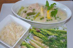 Hühnerfrikassee mit Spargel und Erbsen
