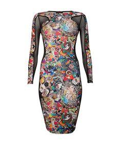 Black (Black) Parisian Black Tattoo Print Bodycon Dress  | 276113501 | New Look