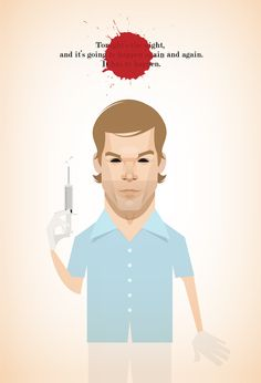 Dexter illustration by Stanley Chow. Funny Caricatures, Celebrity Caricatures, Celebrity Drawings, Dexter Poster, Stanley Chow, Dexter Seasons, Michael C Hall, Cinema Tv, Six Feet Under